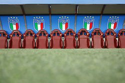 October 6, 2017 - Turin, Italy - New logo of the Italian Football Federation (FIGC) is seen decorating the bench during the 2018 FIFA World Cup Russia qualifier Group G football match between Italy and FYR Macedonia at Stadio Olimpico on October 6, 2017 in Turin, Italy. (Credit Image: © Mike Kireev/NurPhoto via ZUMA Press)