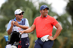 February 28, 2019 - Palm Beach Gardens, Florida, U.S. - Jhonattan Vegas thinks about his selection of a club on the par 3, seventh hole during the first round of the Honda Classic Thursday at PGA National Resort and Spa in Palm Beach Gardens, February 28, 2019. Vegas made a birdie on the hole and finished the first round 6 under par. (Credit Image: © Allen Eyestone/The Palm Beach Post via ZUMA Wire)