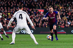 February 6, 2019 - Barcelona, BARCELONA, Spain - 04 Ivan Rakitic of FC Barcelona defended by 04 Sergio Ramos of Real Madrid during the semi-final first leg of Spanish King Cup / Copa del Rey football match between FC Barcelona and Real Madrid on 04 of February of 2019 at Camp Nou stadium in Barcelona, Spain (Credit Image: © AFP7 via ZUMA Wire)