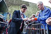 Middlesbrough FC Head Coach Aitor Karanka signs autographs before kick-off during the Sky Bet Championship match between Brighton and Hove Albion and Middlesbrough at the American Express Community Stadium, Brighton and Hove, England on 19 December 2015. Photo by Bennett Dean.