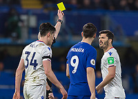 Football - 2017 / 2018 Premier League - Chelsea vs Crystal Palace<br /> <br /> James Tomkins (Crystal Palace) shows what he things of the referee's yellow card at Stamford Bridge <br /> <br /> COLORSPORT/DANIEL BEARHAM