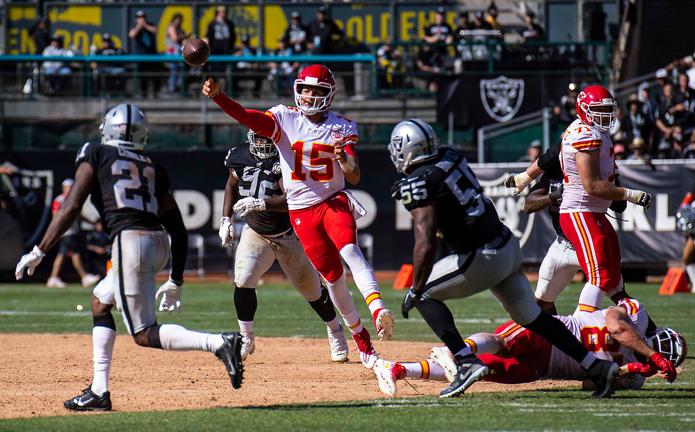 Sept 15 2019 Oakland CA, U.S.A  Kansas City quarterback Patrick Mahomes (15) throws the ball on the run during the NFL football game between Kansas City Chiefs and the Oakland Raiders 28-10 win at RingCentral Coliseum Oakland Calif. Thurman James / CSM