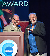 Photo by Mara Lavitt<br /> June 26, 2017<br /> Fairfield, CT<br /> The Connecticut Critics Circle 27th Annual Awards, held at the Edgerton Center for the Performing Arts, Sacred Heart University, Fairfield. Paxton Whitehead, left, and John Tillinger.