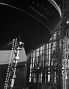 "Launch of the ""Coptic"", stern view of the hull, Swan Hunter & Wigham Richardson shipyard, England, 1928"