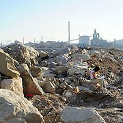 L' acciaieria Lucchini vista dal porto di Piombino.<br /> 6 giugno 2014 . Daniele Stefanini /  OneShot