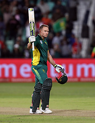 David Miller of South Africa celebrates his century during the 3rd ODI match between South Africa and Australia held at Kingsmead Stadium in Durban, Kwazulu Natal, South Africa on the 5th October  2016<br /> <br /> Photo by: Steve Haag/ RealTime Images
