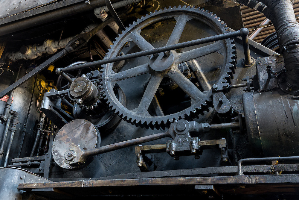 Gears of a 1907 Industrial Works steam crane, historic Nevada Northern Railway, Ely, Nevada.