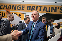 © Licensed to London News Pictures. 16/05/2017. Portsmouth, UK. Liberal Democrat party leader Tim Farron meets with activists outside the Mary Rose Academy special needs school during a visit. The Lib Dems have today announced plans for education and business during campaigning for the general election on June 8, 2017.  Photo credit: Peter Macdiarmid/LNP