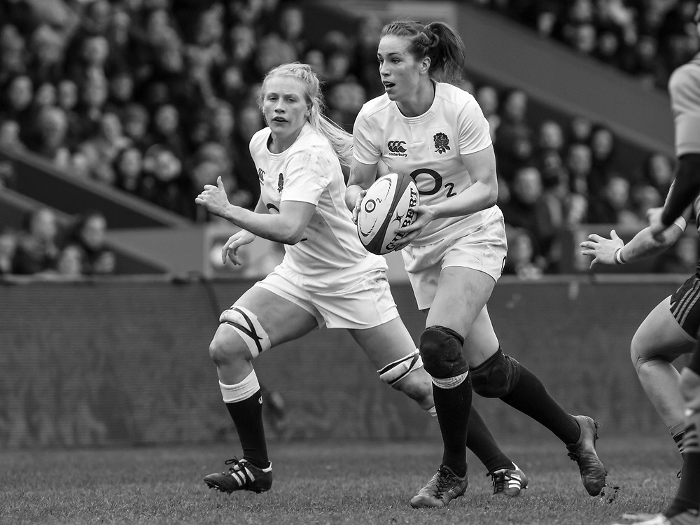 Emily Scarratt in action with Alex Matthews in support, England Women v Italy Women in a 6 Nations match at Twickenham Stoop, London, England, on 25th February 2017 Final Score 29-15.