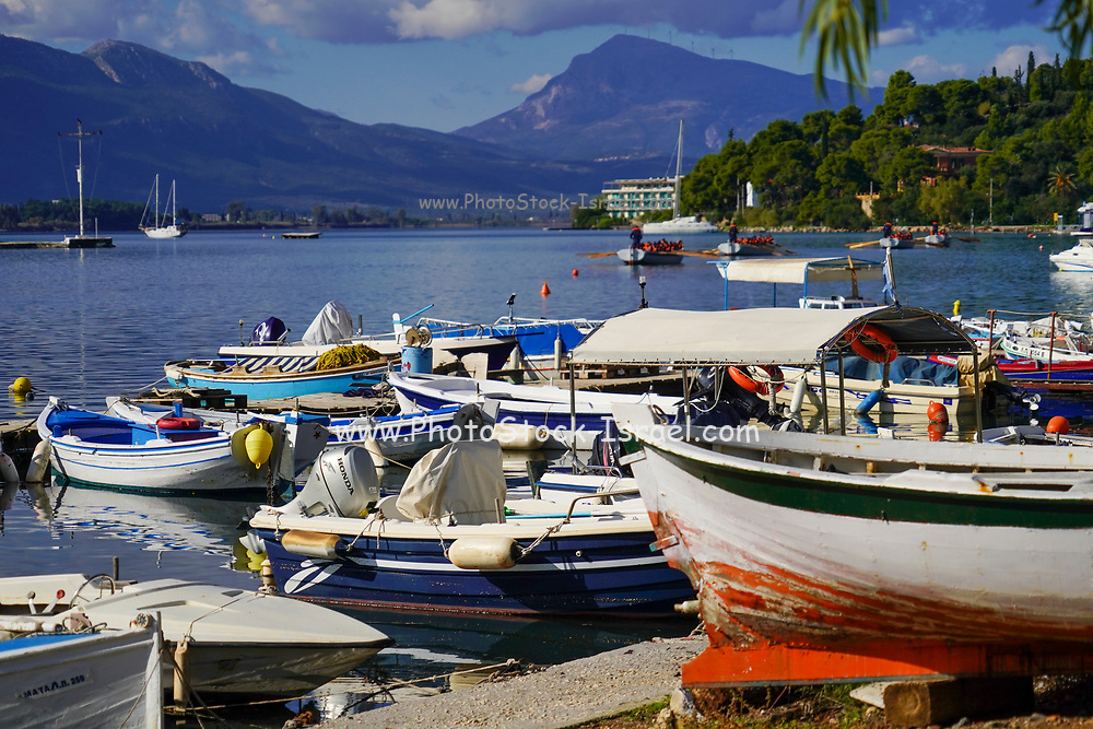 the harbour at Poros is a small Greek island-pair in the southern part of the Saronic Gulf, Greece