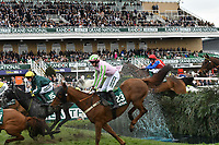 National Hunt Horse Racing - 2019 Randox Health Grand National Festival - Friday, Day Two (Ladies Day)<br /> <br />  M A Enright on no 23 Call It Magicin the foreground jump the Water Jump <br /> in the 16:05 Randox Health Topham Handicap Chase (Grade 3) (National Course)) at Aintree Racecourse.<br /> <br /> COLORSPORT/WINSTON BYNORTH