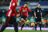 Zlatan Ibrahimovic of Manchester United hits a free kick wide of the goal. Premier league match, Everton v Manchester United at Goodison Park in Liverpool, Merseyside on Sunday 4th December 2016.<br /> pic by Chris Stading, Andrew Orchard sports photography.