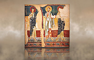 Twelfth century Romanesque fresco called the Apostles of d'Orcau from the church of Santa Maria in the castle of d'Orcau, Catalonia, Spain . National Art Museum of Catalonia, Barcelona. MNAC 4532 .<br /> <br /> If you prefer you can also buy from our ALAMY PHOTO LIBRARY  Collection visit : https://www.alamy.com/portfolio/paul-williams-funkystock/romanesque-art-antiquities.html<br /> Type -     MNAC     - into the LOWER SEARCH WITHIN GALLERY box. Refine search by adding background colour, place, subject etc<br /> <br /> Visit our ROMANESQUE SCULPTURE PHOTO COLLECTION for more   photos  to download or buy as prints https://funkystock.photoshelter.com/gallery/Romanesque-Statue-Sculptures-Pictures-Images/G0000ezFHYeF_xRI/C0000YpKXiAHnG2k .<br /> <br /> If you prefer you can also buy from our ALAMY PHOTO LIBRARY  Collection visit : https://www.alamy.com/portfolio/paul-williams-funkystock/romanesque-art-antiquities.html<br /> Type -     MNAC     - into the LOWER SEARCH WITHIN GALLERY box. Refine search by adding background colour, place, subject etc<br /> <br /> Visit our ROMANESQUE ART PHOTO COLLECTION for more   photos  to download or buy as prints https://funkystock.photoshelter.com/gallery-collection/Medieval-Romanesque-Art-Antiquities-Historic-Sites-Pictures-Images-of/C0000uYGQT94tY_Y