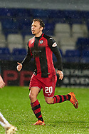 Kristian Dennis Celebrates his Gaol during the Scottish Premiership match between Ross County FC and St Mirren FC at the Global Energy Stadium, Dingwall, Scotland on 26 December 2020