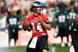 Philadelphia Eagles quarterback A.J. Feeley #14 during the Philadelphia Eagles NFL training camp in Bethlehem, Pennsylvania at Lehigh University on Saturday August 1st 2009. (Photo by Brian Garfinkel)