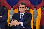 Foto Luciano Rossi/AS Roma/ LaPresse<br /> 10/04/2018 Roma (Italia)<br /> Sport Calcio<br /> AS Roma - Barcellona    <br /> Uefa Champions League 2017 2018 -  Stadio Olimpico di Roma<br /> Nella foto: Ernesto Valverde<br /> <br /> Photo  Luciano Rossi/AS Roma/ LaPresse<br /> 10/04/2018 Rome (Italy)<br /> Sport Soccer<br /> Barcellona -  AS Roma   <br /> Uefa Champions League 2017 2018 - Olimic Stadium of Rome<br /> In the pic: Ernesto Valverde