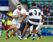 England prop Kieran Brookes (Newcastle Falcons) charges at Barbarians prop Matias Diaz (Pampas & Argentina) during the International Rugby Union match England XV -V- Barbarians at Twickenham Stadium, London, Greater London, England on May  31  2015. (Steve Flynn/Image of Sport)