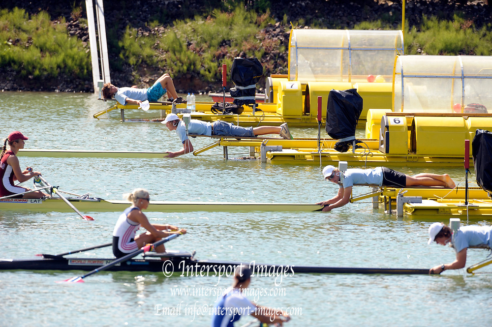 Racice CZECH REPUBLIC.   Start pontoons installations, at the  FISA World U23 Championships,  held on the Racice Rowing Course, 09:36:57 Friday  24/07/2009,  [Mandatory Credit Peter Spurrier/ Intersport Images]