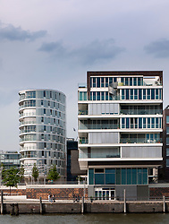 Modern apartment buildings at Vasco Da Gamma Platz in new Hafencity property development in Hamburg Germany