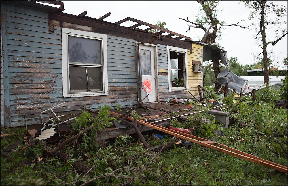 Uninhabitable house that was caused by an EF-2 tornado that went through Eureka, KS.