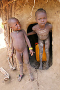 Children of the Mursi tribe. A nomadic cattle herder ethnic group located in Southern Ethiopia, close to the Sudanese border. Debub Omo Zone, Ethiopia