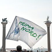 "A flag of the Northern League is seen in St Mark's Square ahead of the Lega Nord rally today in Venice under the slogan ""Prima Il Nord""  (North First)  the Lega Nord with its new Secretary Roberto Maroni are trying to go back to their  1996 meeting in Venice with its original federalist credo"