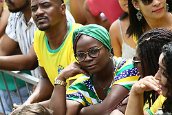June 22, 2018 - Salvador, Brazil - SALVADOR, BA - 22.06.2018: TORCIDA DO BRASIL EM SALVADOR - An unbelieving supporter with first half, in the Olodum crowd in Pelourinho, in Salvador, Bahia, during a game between Brazil and Costa Rica, valid for the 2018 World Cup in Russia. (Credit Image: © Mauro Akin Nassor/Fotoarena via ZUMA Press)