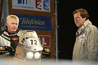 Motor - Paris Dakar 2003<br />Marseille - Narbonne 01.01.2003<br />Pål Arne Ullevålseter No12 KTM sammen med Hubert Auriol<br />Foto: Frederic Le Floc, Digitalsport