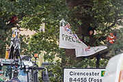 Anti-HS2 activists occupy mature oak trees in order to try to prevent or delay tree felling alongside the Fosse Way in connection with the HS2 high-speed rail link on 24th August 2020 in Offchurch, United Kingdom. The controversial HS2 infrastructure project is currently expected to cost £106bn and will destroy or significantly impact many irreplaceable natural habitats, including 108 ancient woodlands.