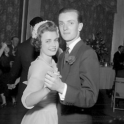 15 May 1958 - Frances Sweeny and her brother Brian Sweeny at her wedding in London.<br /> <br /> Photo by Desmond O'Neill Features Ltd.  +44(0)1306 731608  www.donfeatures.com
