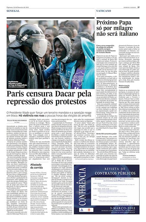 "Tearsheet of ""Senegal: pre-election violence"" published in Expresso"