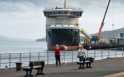 Port Glasgow, Scotland, UK. 21st September 2021, View of controversial Caledonian Macbrayne ferry under fabrication at Ferguson Marine shipyard on lower River Clyde at Port Glasgow, Inverclyde. Iain Masterton/Alamy Live News