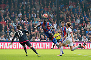 Yannick Bolasie of Crystal Palace heads the ball to score his teams 1st goal of the match to make it 1-0. Barclays Premier League match, Crystal Palace v West Bromwich Albion at Selhurst Park in London on Saturday 3rd October 2015.<br /> pic by John Patrick Fletcher, Andrew Orchard sports photography.