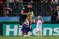 July 11, 2018 - Moscow, Vazio, Russia - Mario MANDZUKIC of Croatia celebrate qualifying after match between England and Croatia valid for the semi final of the 2018 World Cup, held at the Lujniki Stadium in Moscow in Russia..Croatia wins 2-1. (Credit Image: © Thiago Bernardes/Pacific Press via ZUMA Wire)