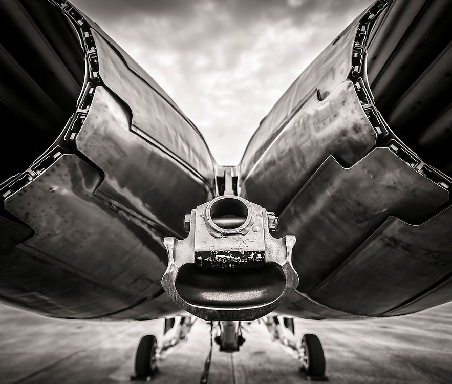 Exhaust and arresting hook of a Blue Angels F-18 Super Hornet.  Naval Air Station Pensacola, Florida.  <br /> <br /> Created by aviation photographer John Slemp of Aerographs Aviation Photography. Clients include Goodyear Aviation Tires, Phillips 66 Aviation Fuels, Smithsonian Air & Space magazine, and The Lindbergh Foundation.  Specialising in high end commercial aviation photography and the supply of aviation stock photography for advertising, corporate, and editorial use.