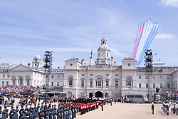 File photo dated 10/05/15 showing the Red Arrows flying over Horse Guards Parade during the VE Day Parade to mark the 70th anniversary of VE Day, at Whitehall in London, marking the end of the Second World War in Europe now 75 years ago.