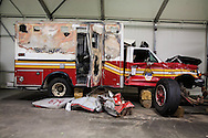 One of the  destroyed emergency response vehicles that are part of a collection of artifacts saved from the site of the World Trade Center after 9/11. Artifacts chosen by curators out of the wreckage  from the World trade Center  stored temporarily within an 80,000 square foot hanger at JFK airport. Some of the artifacts will be in the National September 11 Memorial Museum set to open in 2012.