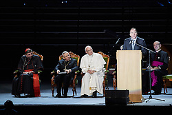 October 31, 2016 - Malm√, Sweden - Cardinal Kurt Koch, Bishop Munib A. Younan, President of Lutheran World Federation, Pope Francis, Swedish Prime minister Stefan L√∂fven and  and Rev. Martin Junge, General Secretary of LWF are seen on stage during the 'Together in Hope' event at Malmo Arena on October 31, 2016 in Malmo, Sweden. The Pope is on 2 days visit attending Catholic-Lutheran Commemoration in Lund and Malmo.  (Credit Image: © Aftonbladet/IBL via ZUMA Wire)