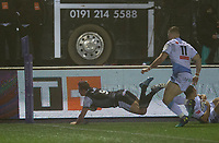 Rugby Union - 2020 / 2021 ERRC Challenge Cup - Newcastle Falcons vs Cardiff Blues - Kingston Park<br /> <br /> Sam Stuart of Newcastle Falcons score his teams second try of the match<br /> <br /> COLORSPORT/BRUCE WHITE
