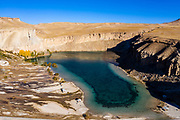 Aerial of the deep blue lakes of the Unesco National Park, Band-E-Amir National Park, Afghanistan