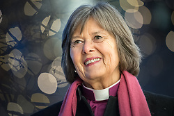 """9 December 2017, Oslo, Norway: In the Trinity Church in Oslo, Norway on 9 December, the World Council of Churches and the Church of Norway hosted an ecumenical prayer service on the occasion of the Nobel Peace Prize ceremony. Oslo hosts the Nobel Peace Prize award ceremony on 9-10 December 2017. The prize in 2017 goes to the International Campaign to Abolish Nuclear Weapons (ICAN), for """"its work to draw attention to the catastrophic humanitarian consequences of any use of nuclear weapons and for its ground-breaking efforts to achieve a treaty-based prohibition of such weapons"""". Here, Church of Norway's presiding bishop Helga Haugland Byfuglien near Trinity Church."""