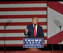 October 13, 2016 - West Palm Beach, FL, United States - Republican presidential candidate Donald Trump speaks at the Fair Expo Center in West Palm Beach on October 13 2016 in West Palm Beach  (Credit Image: © Solar/Ace Pictures via ZUMA Press)
