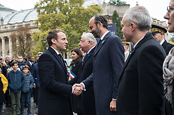 French President Emmanuel Macron and Prime Minister Edouard Philippe in Paris on November 11, 2017 during the Armistice Day commemorations marking the end of WWI. Photo by<br /> ELIOT BLONDET/ABACAPRESS.COM