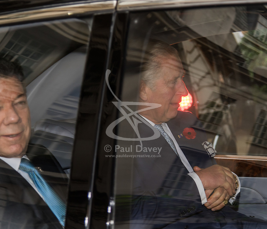 Rosewood Hotel, Holborn, London, November 1st 2016. His Royal Highness  Charles The Prince of Wales accompanied by Camilla The Duchess of Cornwall arrive at the Rosewood Hotel in Holborn, London, to greet the President of Colombia Juan Manuel Santos, who is on a State Visit to Britain, and his wife Maria Clemencia Rodriguez de Santos before travelling with them to their ceremonial welcome At Horse Guargrds Parade by Her Majesty The Queen. PICTURED: Prince Charles, accompanied by the President of Colombia Juan Manuel Santos leaves the Rosewood Hotel.
