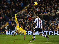 Crystal Palace's Damien Delaney tries an ovehead kick in the box but fails to score.-Photo mandatory by-line: Alex James/JMP - Tel: Mobile: 07966 386802 02/11/2013 - SPORT - FOOTBALL - The Hawthorns - West Bromwich - West Bromwich Albion v Crystal Palace - Barclays Premier League