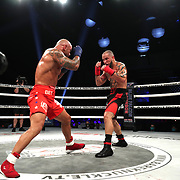 DAYTONA BEACH, FL - SEPTEMBER 11: Thiago Alves (L) squares up with Julian Lane during the Bare Knuckle Fighting Championships at the Ocean Center on September 11, 2020 in Daytona Beach, Florida. (Photo by Alex Menendez/Getty Images) *** Local Caption *** Thiago Alves; Julian Lane