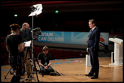 David Cameron press interviews during the Conservative Party Conference at ICC, Birmingham, on the second day of the Party Conference, Tuesday October 9, 2012. Birmingham, England. Photo by Andrew Parsons / i-Images..
