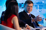 Valdis Dombrovskis, Vice-President for Euro and Social Dialogue, Financial Stability, Financial Services and Capital Markets Union, European Commission, Brussels during the session: China's Financial Opening at the World Economic Forum - Annual Meeting of the New Champions in Tianjin, People's Republic of China 2018.Copyright by World Economic Forum / Greg Beadle