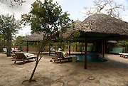 Tanzania wildlife safari European tourist at a lodge