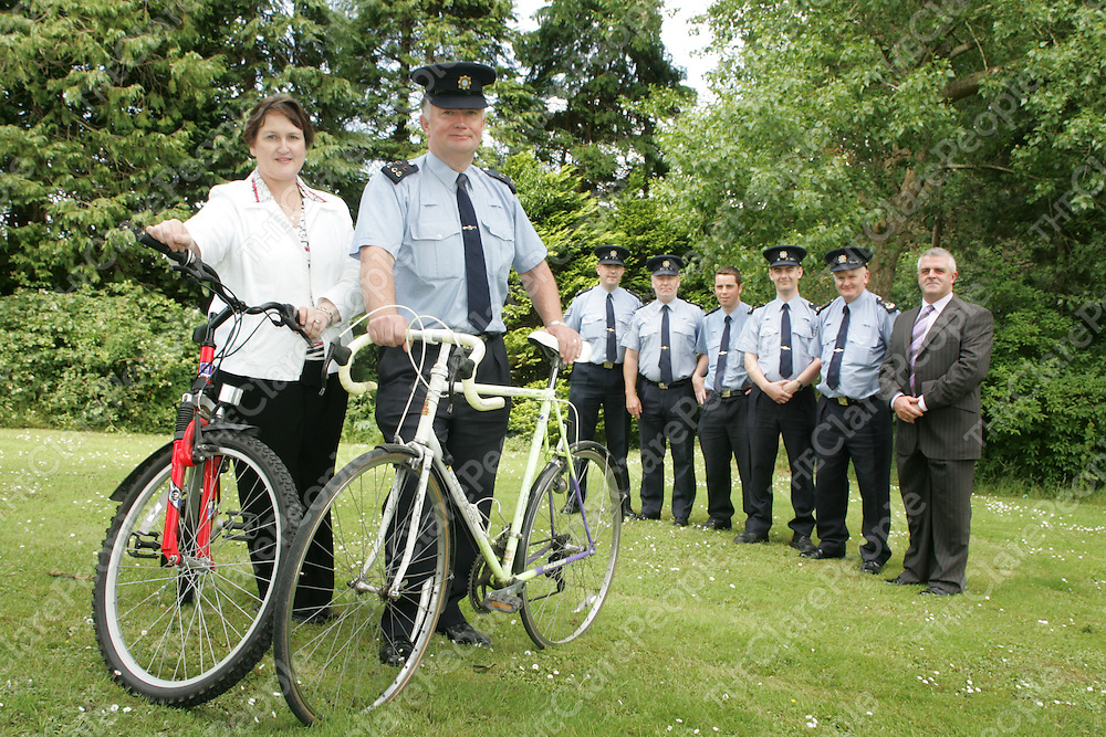 Mary Moloney- and Michael O Halloran-Sec. of Clare Garda Cycling Club, Dermot O Connor - Shannon, Brendan Burke-Kildysart, Colm Collins-Ennistymon, Mark Murphy-Ennis, Gerard Mulqueen-Kilalloe and Supt John Kerin pictured at the Launch of the Clare Garda Cycle through West and North Clare in aid of Cahercalla Hospice on Tuesday. Pic. Brian Arthur/ Press 22.
